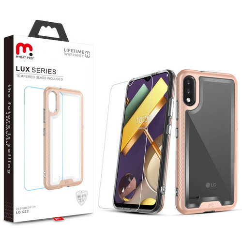 MyBat Pro Lux Series Case with Tempered Glass for LG K22 - Rose Gold