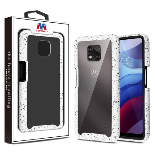 MyBat Splash Hybrid Case for Motorola Moto G Power (2021) - Highly Transparent Clear / White