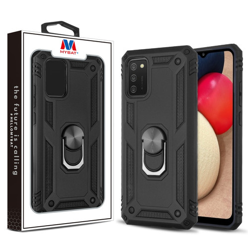 MyBat Anti-Drop Hybrid Protector Case (with Ring Stand) for Samsung Galaxy A02s - Black / Black