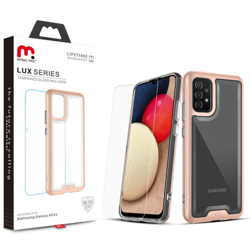 MyBat Pro Lux Series Case with Tempered Glass for Samsung Galaxy A02s - Rose Gold
