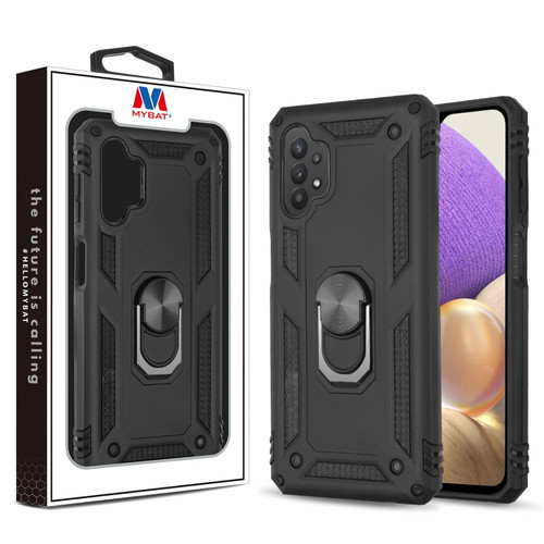 MyBat Anti-Drop Hybrid Protector Case (with Ring Stand) for Samsung Galaxy A32 5G - Black / Black