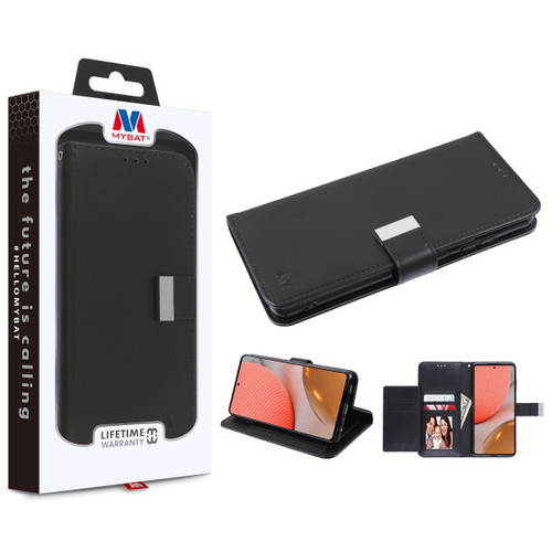 MyBat MyJacket Wallet Xtra Series for Samsung Galaxy A72 5G - Black / Black