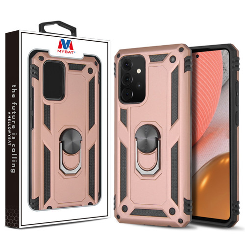 MyBat Anti-Drop Hybrid Protector Case (with Ring Stand) for Samsung Galaxy A72 5G - Rose Gold / Black