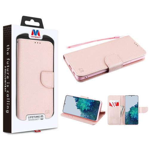 MyBat Liner MyJacket Wallet Crossgrain Series for Samsung Galaxy S21 Plus - Rose Gold Pattern / Rose Gold
