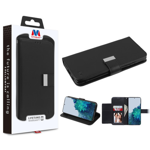 MyBat MyJacket Wallet Xtra Series for Samsung Galaxy S21 Plus - Black / Black