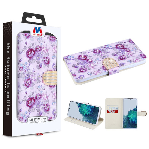 MyBat MyJacket Wallet Diamond Series for Samsung Galaxy S21 Plus - Fresh Purple Flowers