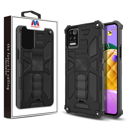 MyBat Sturdy Hybrid Protector Cover (with Stand) for LG K53 / K52 - Black / Black