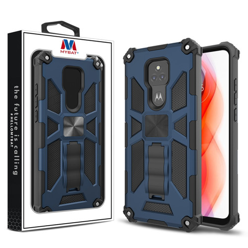 MyBat Sturdy Hybrid Protector Cover (with Stand) for Motorola Moto G Play (2021) - Ink Blue / Black