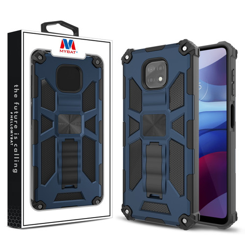 MyBat Sturdy Hybrid Protector Cover (with Stand) for Motorola Moto G Power (2021) - Ink Blue / Black