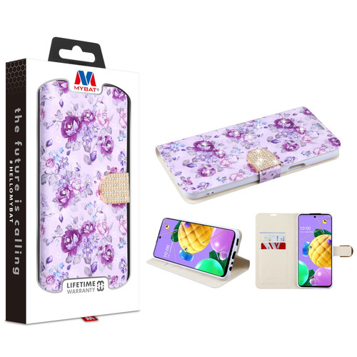 MyBat MyJacket Wallet Diamond Series for LG K53 - Fresh Purple Flowers