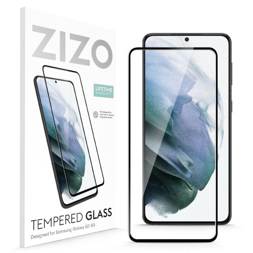 ZIZO TEMPERED GLASS Screen Protector (No Fingerprint Sensor) for Galaxy S21 Full Glue Clear Screen Protector (No Fingerprint Sensor) with Anti Scratch and 9H Hardness - Black GLSHD-SAMGS2163-BLK