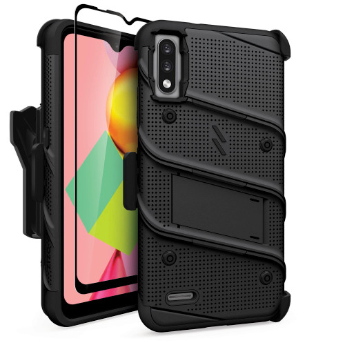 ZIZO BOLT Series for LG K22 Case with Screen Protector Kickstand Holster Lanyard - Black BOLT-LGFTN4-BKBK