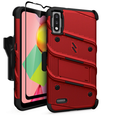 ZIZO BOLT Series for LG K22 Case with Screen Protector Kickstand Holster Lanyard - Red & Black BOLT-LGFTN4-RDBK