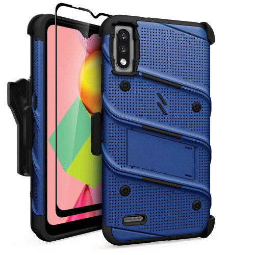ZIZO BOLT Series for LG K22 Case with Screen Protector Kickstand Holster Lanyard - Blue & Black BOLT-LGFTN4-BLBK