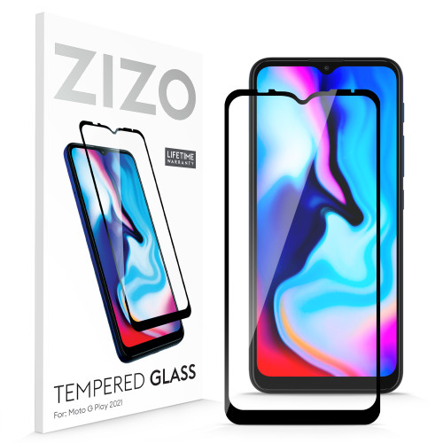 ZIZO TEMPERED GLASS Screen Protector for Moto G Play (2021) Full Glue Clear Screen Protector with Anti Scratch and 9H Hardness - Black GLSHD-MOTXT2093-BLK