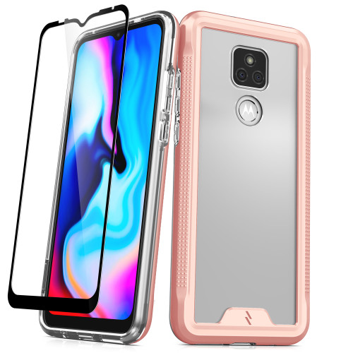 ZIZO ION Series for Moto G Play (2021) Case - Military Grade Drop Tested with Tempered Glass Screen Protector - Rose Gold IONC-MOTXT2093-RGDCL
