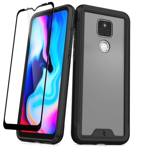 ZIZO ION Series for Moto G Play (2021) Case - Military Grade Drop Tested with Tempered Glass Screen Protector - Black Smoke IONC-MOTXT2093-BKSM