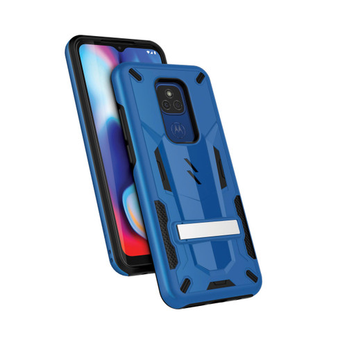 ZIZO TRANSforM Series for Moto G Play (2021) Case - Rugged Dual-layer Protection with Kickstand - Blue TFM-MOTXT2093-BLBK