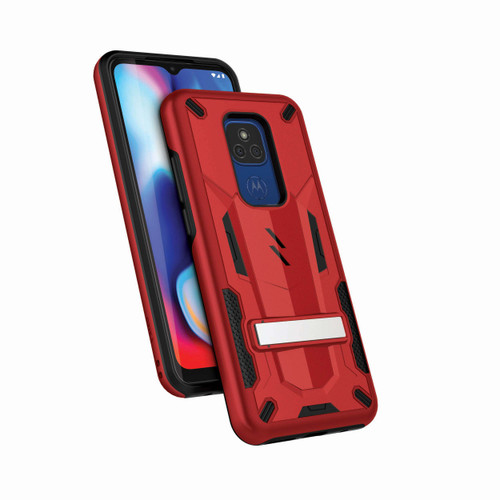 ZIZO TRANSforM Series for Moto G Play (2021) Case - Rugged Dual-layer Protection with Kickstand - Red TFM-MOTXT2093-RDBK