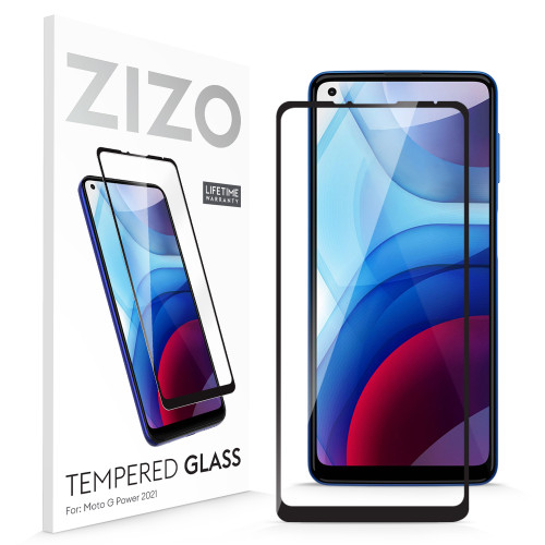 ZIZO TEMPERED GLASS Screen Protector for Moto G Power (2021) Full Glue Clear Screen Protector with Anti Scratch and 9H Hardness - Black GLSHD-MOT2117PWR-BLK