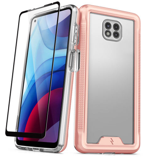 ZIZO ION Series for Moto G Power (2021) Case - Military Grade Drop Tested with Tempered Glass Screen Protector - Rose Gold IONC-MOT2117PWR-RGDCL