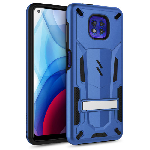 ZIZO TRANSFORM Series for Moto G Power (2021) Case - Rugged Dual-layer Protection with Kickstand - Blue TFM-MOT2117PWR-BLBK