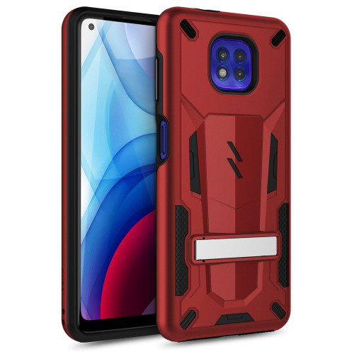 ZIZO TRANSFORM Series for Moto G Power (2021) Case - Rugged Dual-layer Protection with Kickstand - Red TFM-MOT2117PWR-RDBK