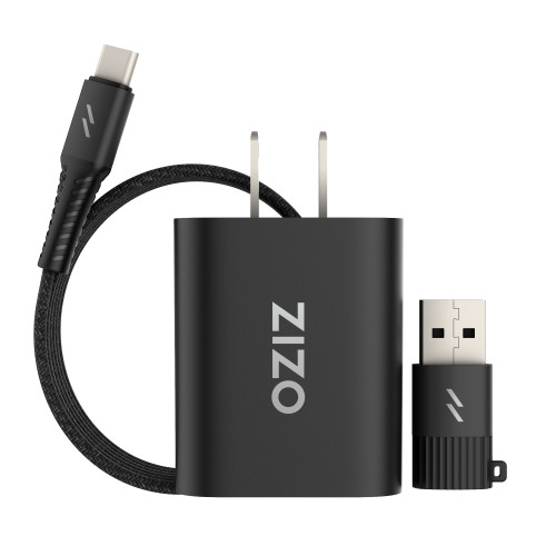 ZIZO PowerVault Bundle Travel Charger + Type C to C Cable + USB to Type C Adapter - Black ZPV-3IN1TVLCC-BLK