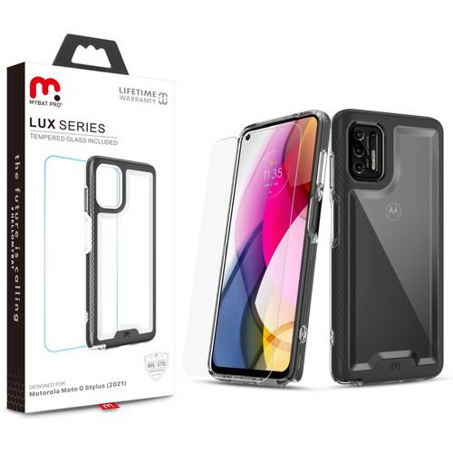 Moto G Stylus (2021) - MyBat Pro Lux Series Case with Tempered Glass for Motorola Moto G Stylus (2021) - Black