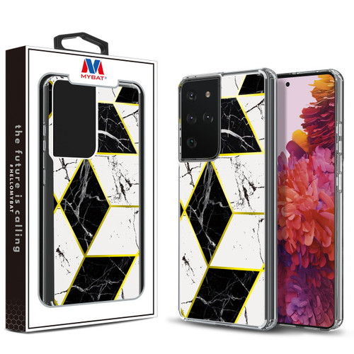 Galaxy S21 Ultra - MyBat Fusion Protector Cover for Samsung Galaxy S21 Ultra - Electroplated Black Marbling