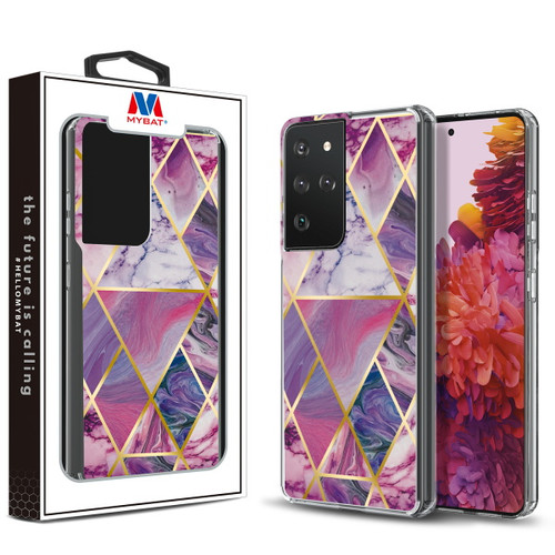 Galaxy S21 Ultra - MyBat Fusion Protector Cover for Samsung Galaxy S21 Ultra - Electroplated Purple Marbling