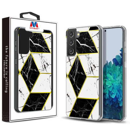 Galaxy S21 Cases - MyBat Fusion Protector Cover for Samsung Galaxy S21 - Electroplated Black Marbling