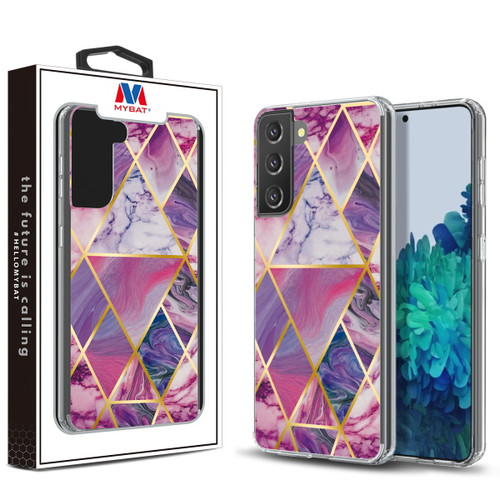 Galaxy S21 Cases - MyBat Fusion Protector Cover for Samsung Galaxy S21 - Electroplated Purple Marbling
