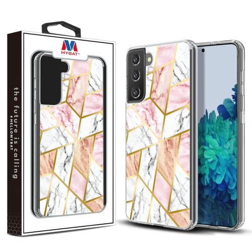 Galaxy S21 Cases - MyBat Fusion Protector Cover for Samsung Galaxy S21 - Electroplated Pink Marbling