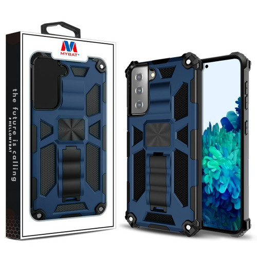 Galaxy S21 Cases - MyBat Sturdy Hybrid Protector Cover (with Stand) for Samsung Galaxy S21 - Ink Blue / Black
