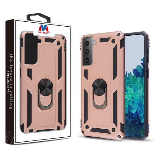 Galaxy S21 Cases - MyBat Anti-Drop Hybrid Protector Case (with Ring Stand) for Samsung Galaxy S21 - Rose Gold / Black