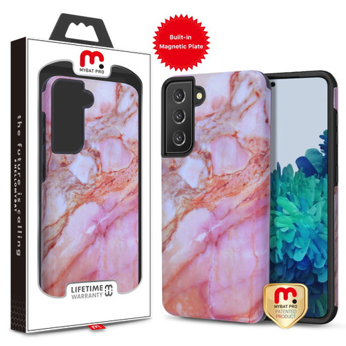 Galaxy S21 Cases - MyBat Pro Fuse Series Case with Magnet for Samsung Galaxy S21 - Pink Marble