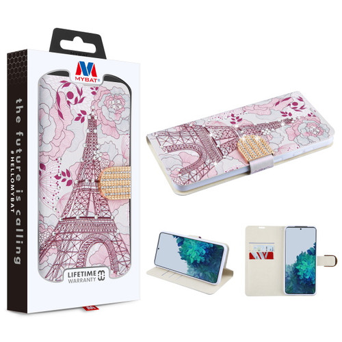 Galaxy S21 Cases - MyBat MyJacket Wallet Diamond Series for Samsung Galaxy S21 - Eiffel Tower