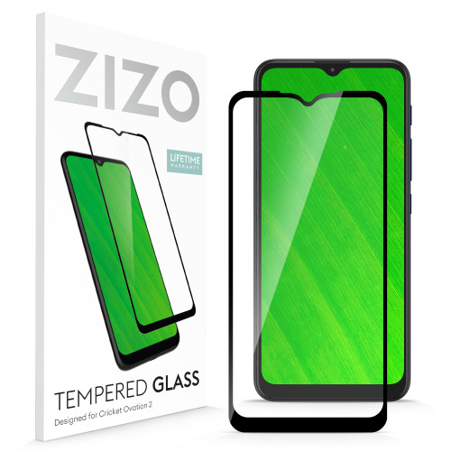 ZIZO TEMPERED GLASS Screen Protector for Cricket Ovation 2 Full Glue Clear Screen Protector with Anti Scratch and 9H Hardness - Black GLSHD-CKOV2-BLK