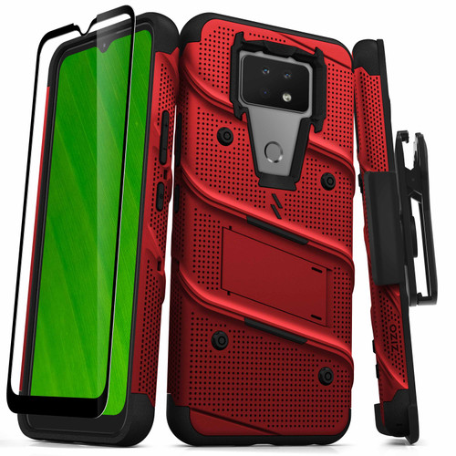 ZIZO BOLT Series for Cricket Ovation 2 Case with Screen Protector Kickstand Holster Lanyard - Red & Black BOLT-CKOV2-RDBK