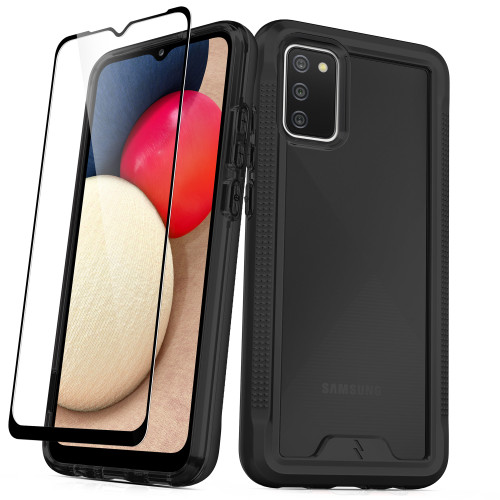 ZIZO ION Series for Galaxy A02s Case - Military Grade Drop Tested with Tempered Glass Screen Protector - Black Smoke IONC-SAMGA02S-BKSM