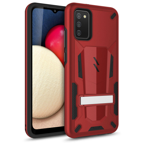 ZIZO TRANSFORM Series for Galaxy A02s Case - Rugged Dual-layer Protection with Kickstand - Red TFM-SAMGA02S-RDBK