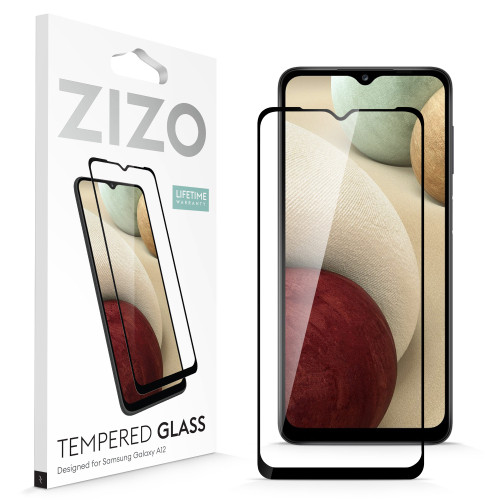 ZIZO TEMPERED GLASS Screen Protector for Galaxy A12 Full Glue Clear Screen Protector with Anti Scratch and 9H Hardness - Black GLSHD-SAMGA12-BLK