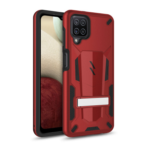 ZIZO TRANSFORM Series for Galaxy A12 Case - Rugged Dual-layer Protection with Kickstand - Red TFM-SAMGA12-RDBK