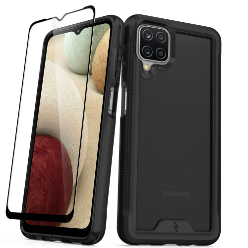 ZIZO ION Series for Galaxy A12 Case - Military Grade Drop Tested with Tempered Glass Screen Protector - Black Smoke IONC-SAMGA12-BKSM