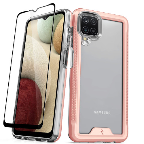 ZIZO ION Series for Galaxy A12 Case - Military Grade Drop Tested with Tempered Glass Screen Protector - Rose Gold IONC-SAMGA12-RGDCL