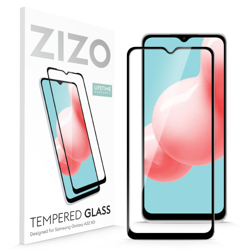 ZIZO TEMPERED GLASS Screen Protector for Galaxy A32 5G Full Glue Clear Screen Protector with Anti Scratch and 9H Hardness - Black GLSHD-SAMGA32-BLK