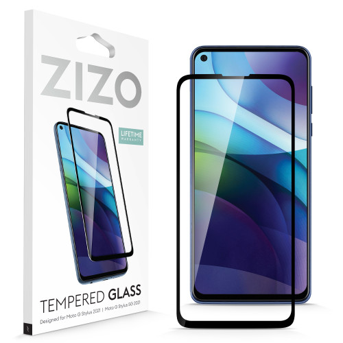 ZIZO TEMPERED GLASS Screen Protector for Moto G Stylus (2021) Full Glue Clear Screen Protector with Anti Scratch and 9H Hardness - Black GLSHD-MOTXT2115-BLK