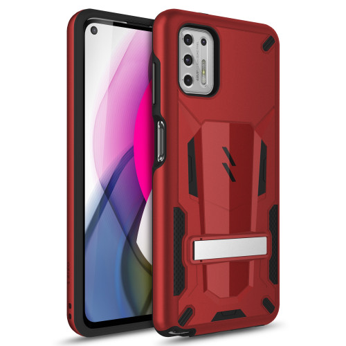 ZIZO TRANSFORM Series for Moto G Stylus (2021) Case - Rugged Dual-layer Protection with Kickstand - Red TFM-MOTXT2115-RDBK