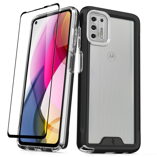 ZIZO ION Series for Moto G Stylus (2021) Case - Military Grade Drop Tested with Tempered Glass Screen Protector - Black Smoke IONC-MOTXT2115-BKSM